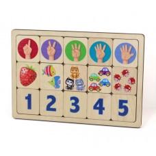 Десятое кор.   Игра развивающая дерев. 00735 Считаем до пяти