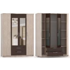 Мебель-Комплекс Шкаф 4-х ств с зеркалом ШКМ4-зер Камелия Шимо Ясень Светлый/Венге