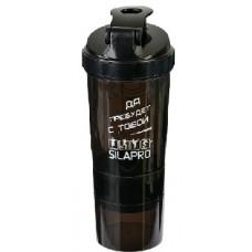 SILAPRO Шейкер (пружина-венчик, отсек для витаминов, отсек для протеина), 0,5л, полипропилен, 25x9см
