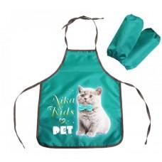 NIKA Фартук и нарукавники (ФН2/И рисунок с котенком, изумрудный)